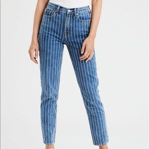 American eagle striped mom jeans size 2